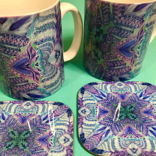 Spiral Shells Kaleidoscope Mug and Coaster Box  Set or  Mug only - Colourful Mug Set - Spiral Shells Mug Gift