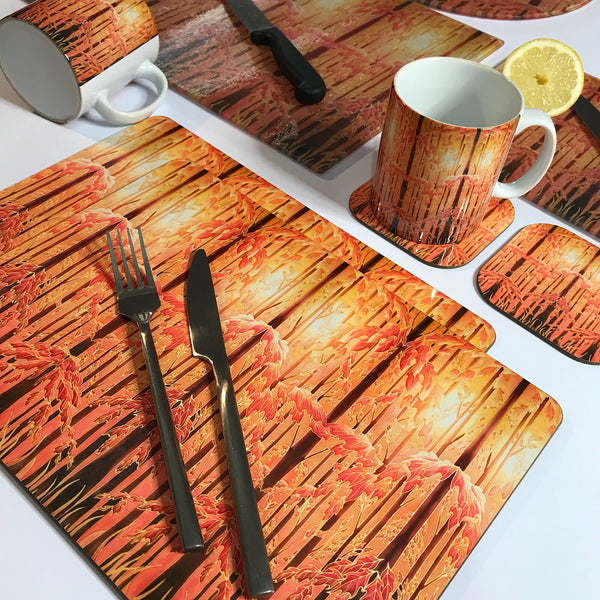 Autumnal Trees Table Mats - Tall trees place mats - Autumn chopping boards
