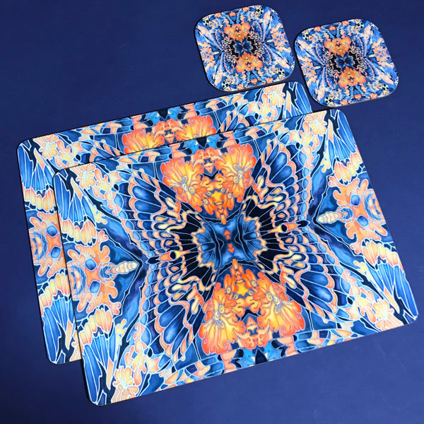 Contemporary Grey Blue Orange Placemats & Coasters - Table Mats -