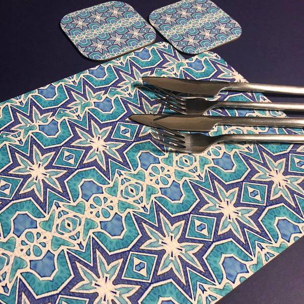 Ice Star Nordic Style High Quality Table Mats -  Blue Aqua White Tableware