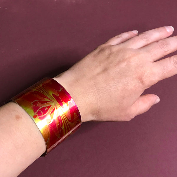 Red Pink Yellow Contemporary Bracelet - easy wear lightweight aluminium.