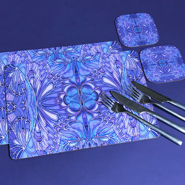 Soft Blue Lilac Butterfly Placemats and Coasters - Table Mats & Coasters, Blue Glass Chopping Boards