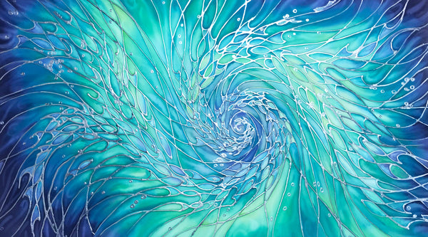 SOLD Intertwined Ocean  Shoals Painting - hand painted silk swirling fish - Sea life Original Art