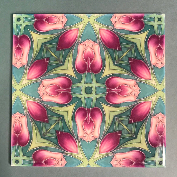 Nouveau Rich Pink Tulips Tiles. Arts and Crafts look Bathroom Tiles or Kitchen Tiles