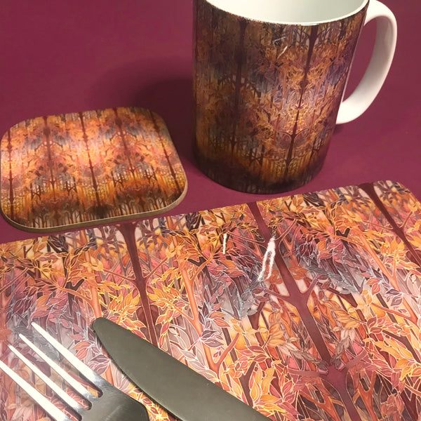 Forest Trees High Quality Table Mats and Coasters - Burgundy Terracotta Tableware - Copper Brown Burgundy Tableware