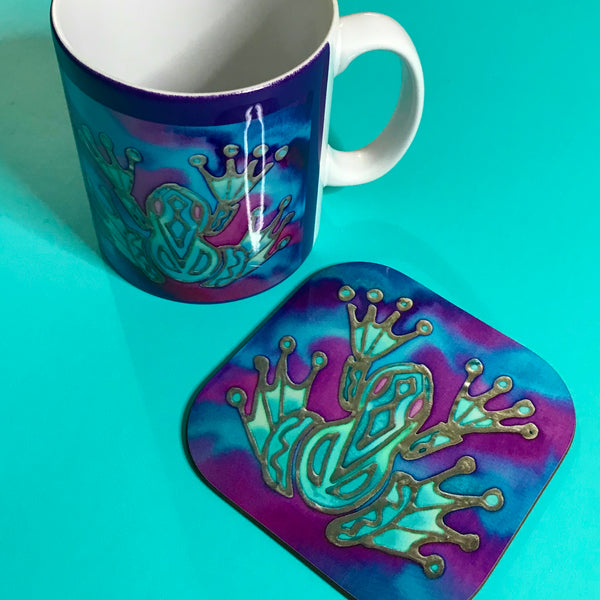 Purple Frog Square Table Mats & Coasters - Frog Table Mats