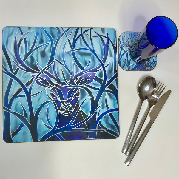 Red Stag Square Mats & Coasters - Wildlife Table Mats