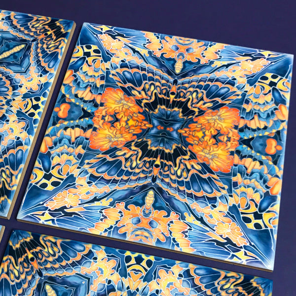 Contemporary Butterfly Tiles - Bold Orange Blue & Grey Ceramic Tiles - Beautiful Bohemian Printed Tiles