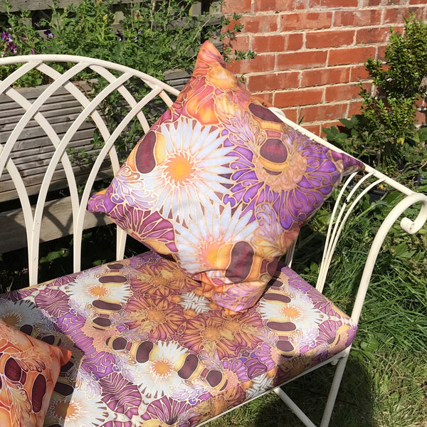 Made to Order Canvas Bench Seats and other Shower Proof Exterior Fabrics - Bees and Flowers