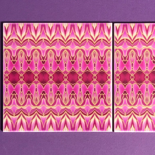 Pink Gold Persian Style Bathroom Tiles - Bohemian Kitchen Tiles - Orchid Repeat Decorative Tiles