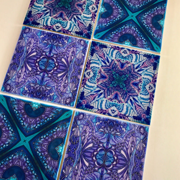 Contemporary Butterfly Tiles - Blue Lilac Tiles  - Bohemian Ceramic Printed Tiles