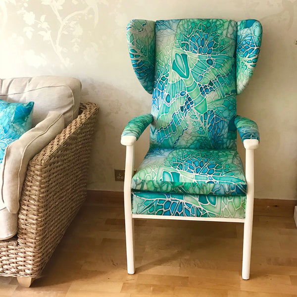 Green Parker Knoll Chair - Mint Green Chair Update - Bespoke Upholstery and Re-covering