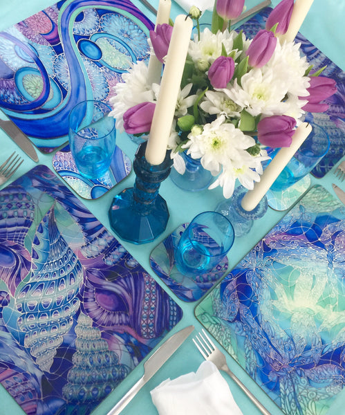 Blue Table Mats & Coasters - blue green purple placemats - Blue Glass Chopping boards