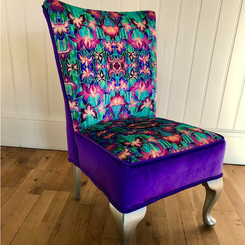 Purple Irises Bedroom Chair - Iris Flowers Small Chair - Bespoke Upholstery.