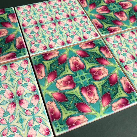Pink Tulip Mixed Set of Bathroom Tiles - Arts and Crafts Look Bright Bohemian Kitchen Tiles