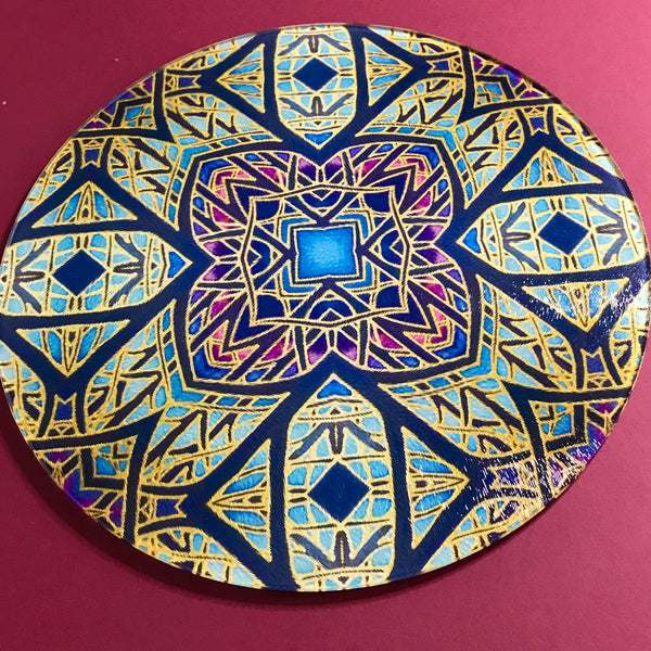 Rose Window Glass Chopping Board - Heat Proof Table Top saver - Decorative platter
