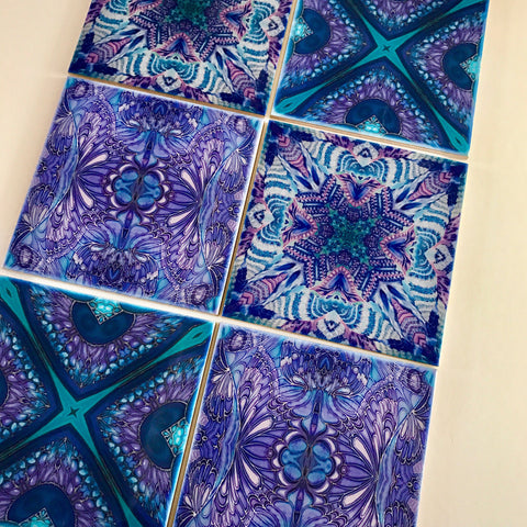 Contemporary Tiles Mixed Patterns - Blue Green Purple Tiles - Beautiful Tile - Bohemian Tiles