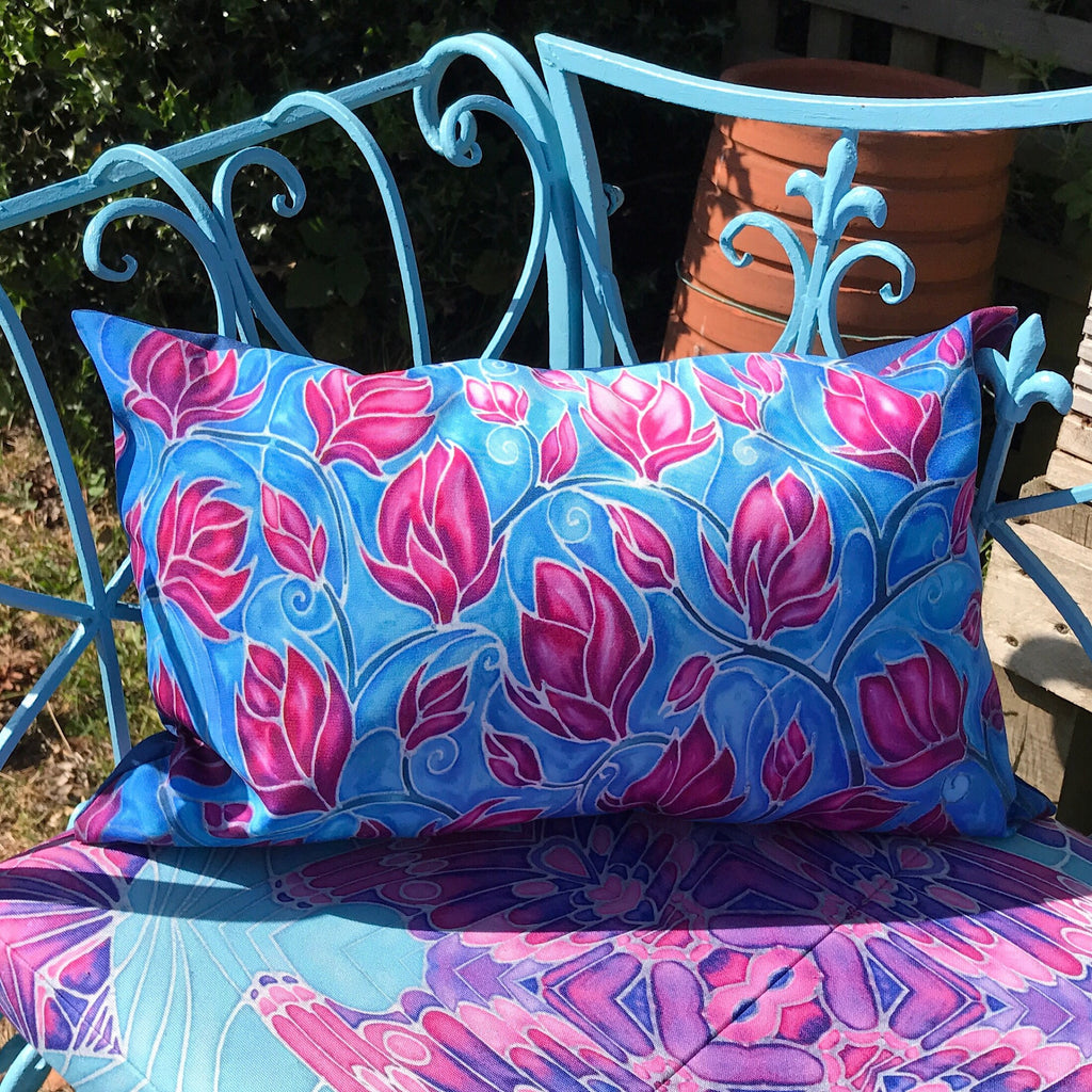 Showerproof Canvas Exterior Cushion - Magnolias Garden Bench Cushion - Pink Magnolias