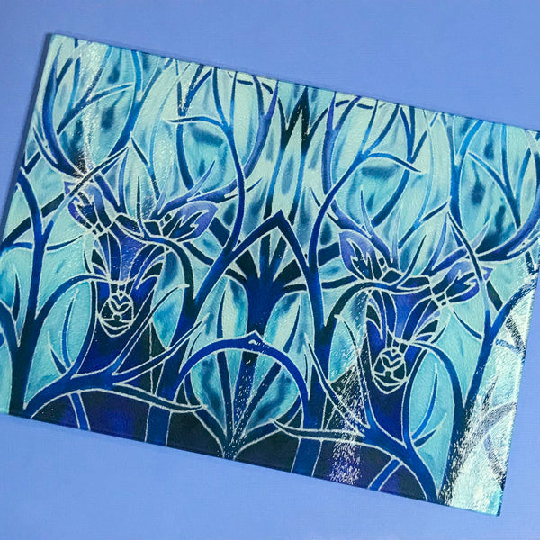 Deep Blue Stag Glass Chopping Board - Stag Trivet - Blue Pot stand - Heat Proof Table Top saver - Decorative platter