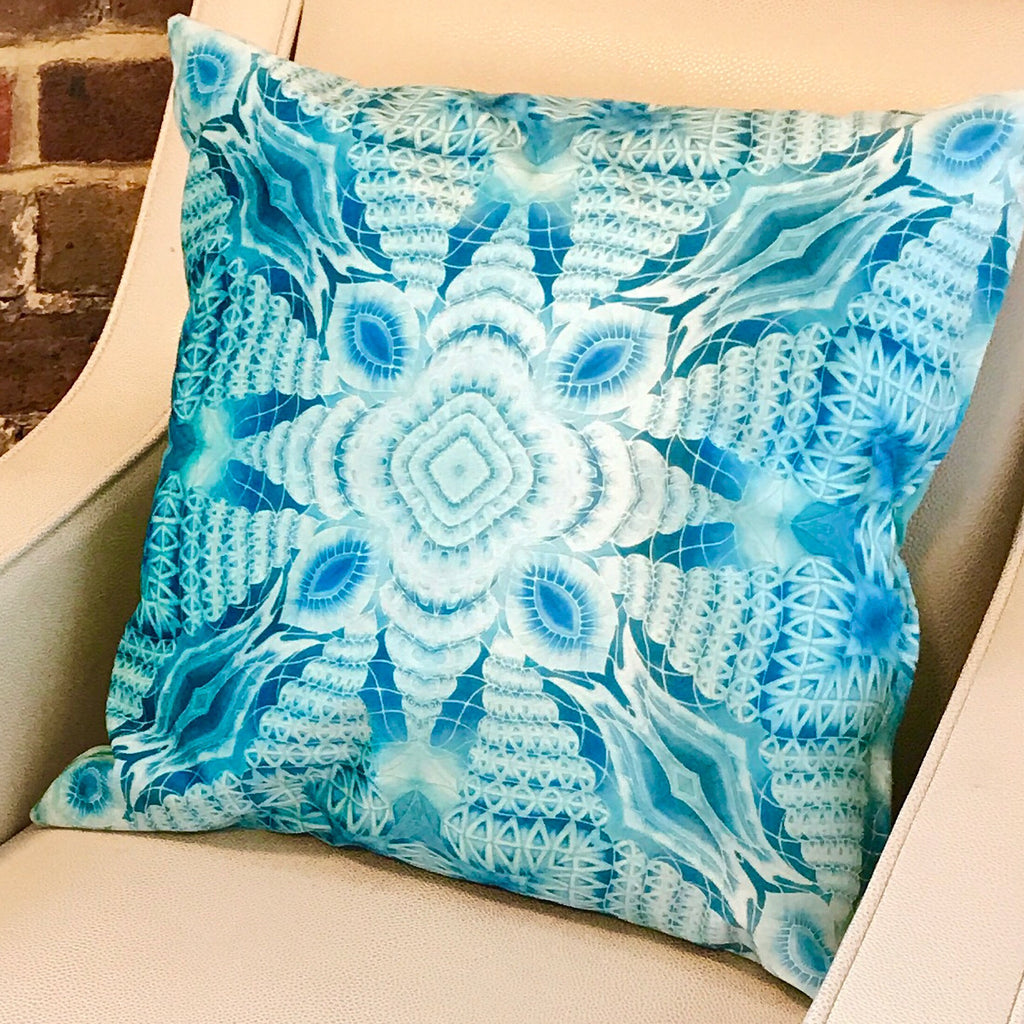 Blue Mint Velvet Cushion - Luxury Turquoise Velvet Fabric - Intricate pattern pillow
