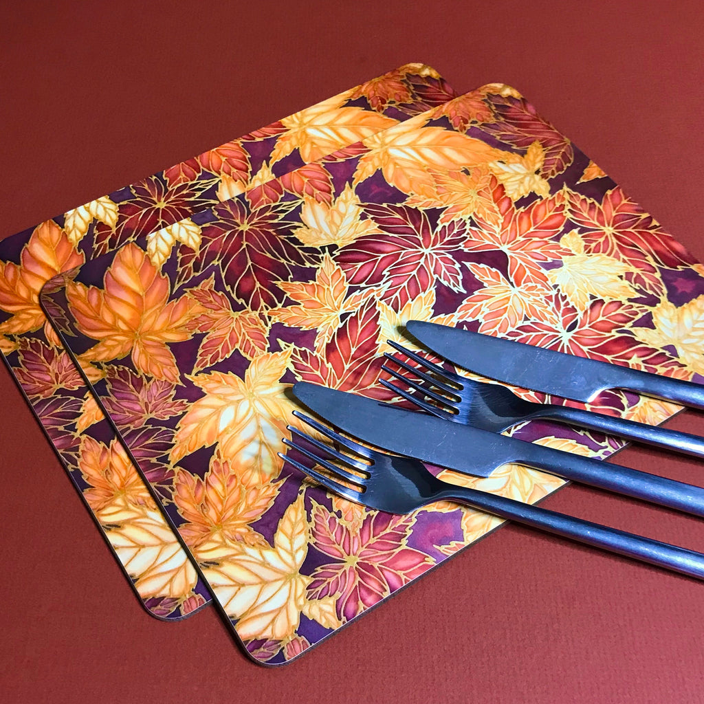 Terracotta Leaves Placemats & Coasters - Caramel Table Mats  - Heatproof glass chopping boards