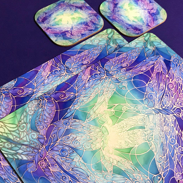Table Mats Blue Dragonflies - Blue Green Purple Placemats - Blue Dragonfly Coasters