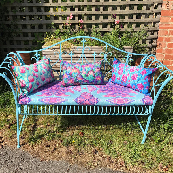 bohemian garden seating - pretty exterior textiles - showerproof garden cushions - Meikie Designs