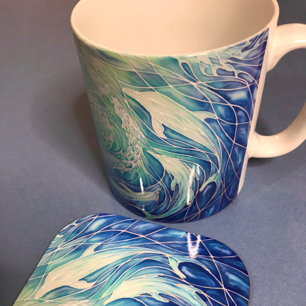 Swirling Dolphins Mug and Coaster - Blue Turquoise Mug Set - Mug Gift