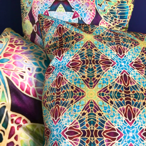 Teal Green & Red Repeat Pattern Kaleidoscope Cushions in Luxury Velvet