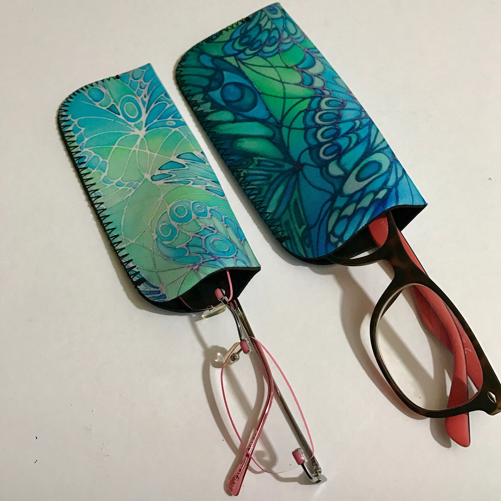 Green butterflie Glasses case - Sunglasses Case - reading glasses case
