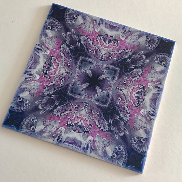 Contemporary Purple Butterfly Tiles - Beautiful Purple Grey Tiles - Ceramic Bohemian Printed Tiles