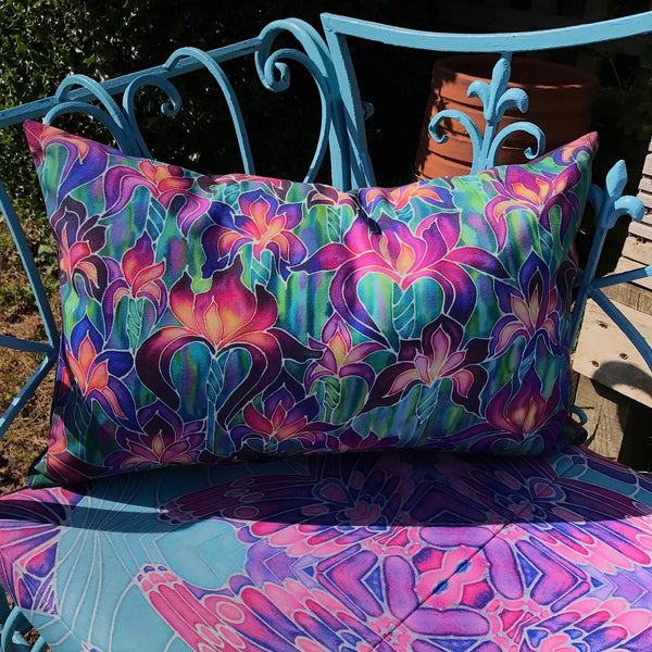 Butterfly Garden Bench Seat Pad - Made to Order Chair Seat Pad - Pretty Shower Proof Textiles -