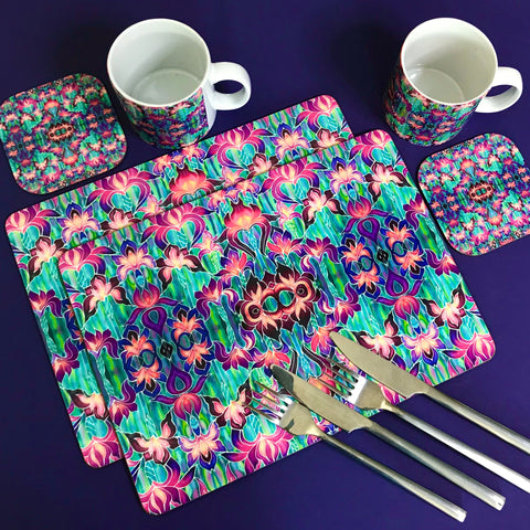 Purple Iris Pattern Table Mats and Coasters - Iris chopping board - Durable Tableware