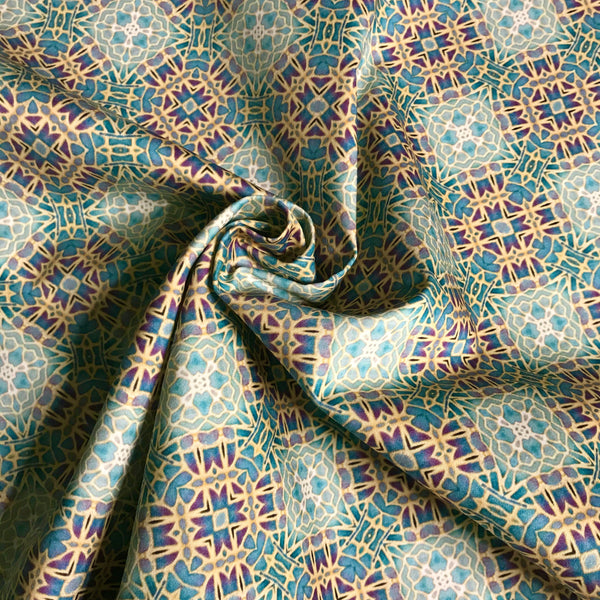 Soft Teal Green Turquoise Lilac Gold 'Gentle Stars' Designer 100% Cotton Satin fabric for curtains, upholstery and soft furnishings