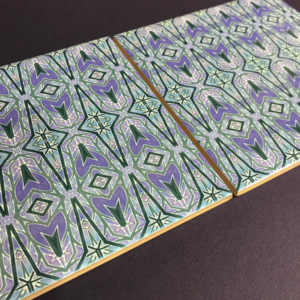 Deco Style Charcoal and Lilac Bathroom or Kitchen Tiles -  Ceramic Hand Printed Tiles
