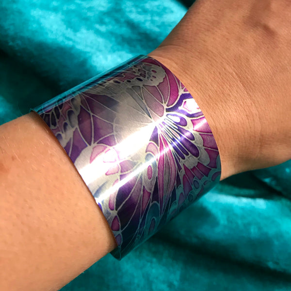 Pretty Purple Butterfly Statement Cuff Bracelet - easy wear lightweight aluminium.