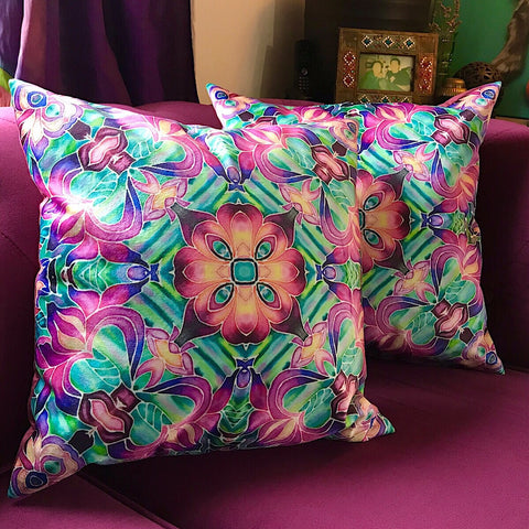 Pink Iris Velvet Cushions - Purple Irises Throw Pillow - Luxury Flower Accent Decor
