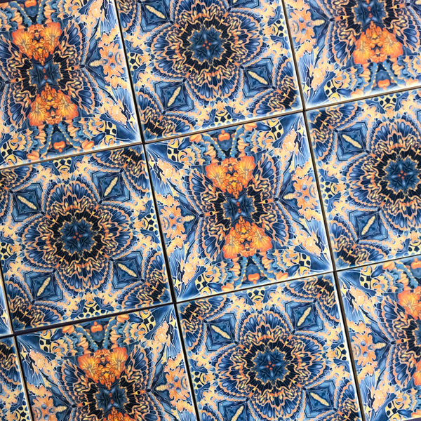 Contemporary Tiles Mixed Patterns - Grey Blue Orange Tiles - Beautiful Tile - Bohemian Tiles