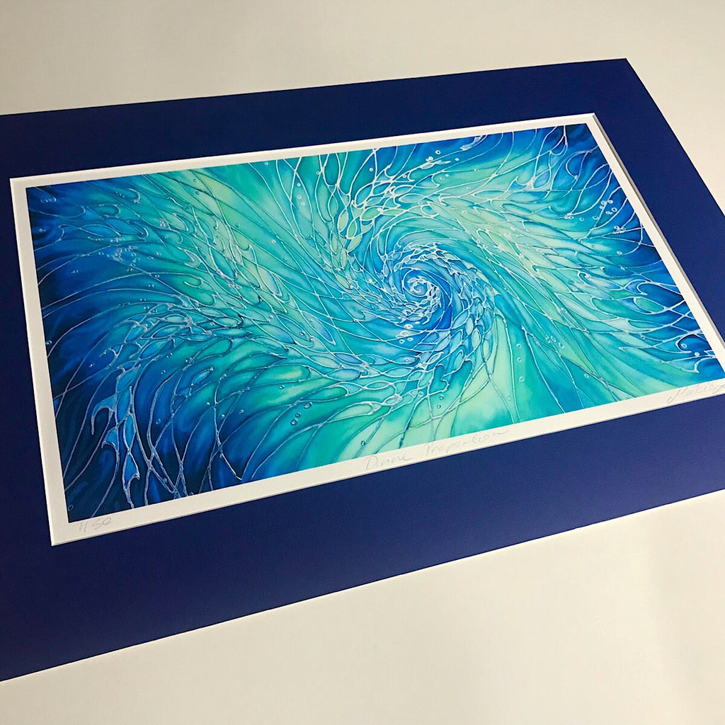 Intertwined Shoals Signed Print - Fish swimming in the Sea - Blue green ocean Print - Bathroom Art