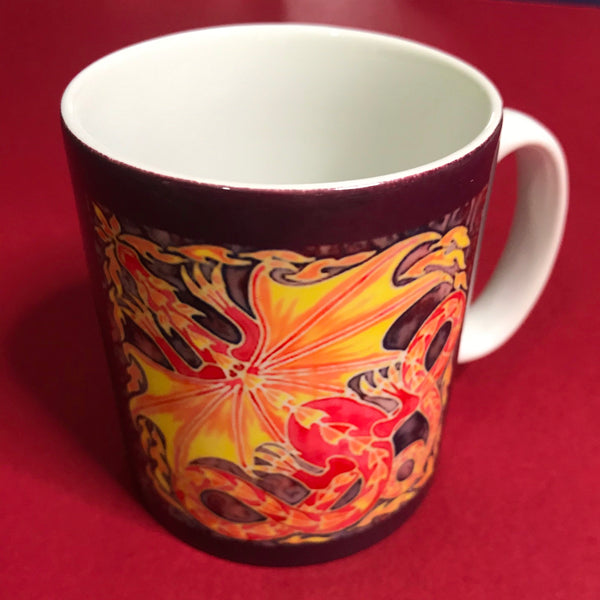 Winged Dragon Mug and Coaster box set or mug only - Red Mug Set - Western Dragon Mug Gift