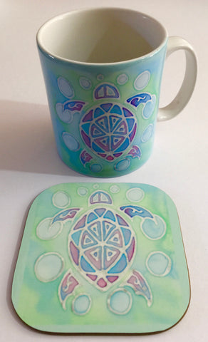 Sea Turtle Mug Gift - Turtle Lovers Gift set - Green Turtle Mug Gift