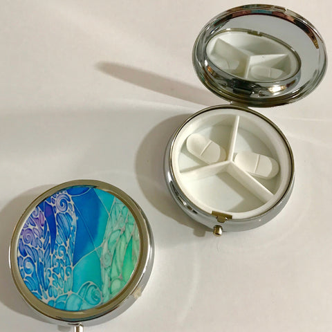 Blue Dragonfly Pill Box - Blue Compact pill box - Handbag pill box