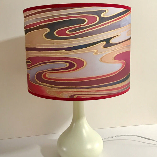 Contemporary Lamp Shade - red plum caramel Drum Shade - Atmospheric lamp Shade