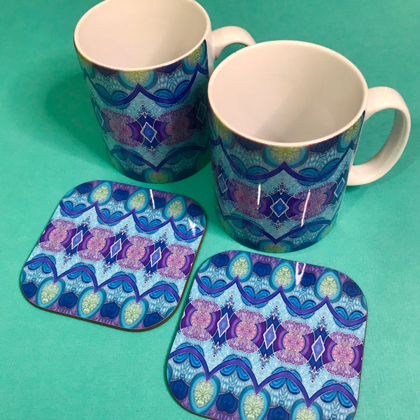 Persian Mug and Coaster Box Set or Mug only - Colourful Mug Set - Persian Mug Gift