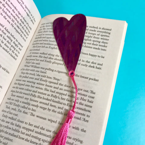 Pink Peacock Heart Book Mark Comtemporary lightweight aluminium.