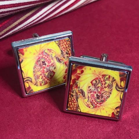 Fiery Intertwined Dragons Cuff Links - Gift for Him