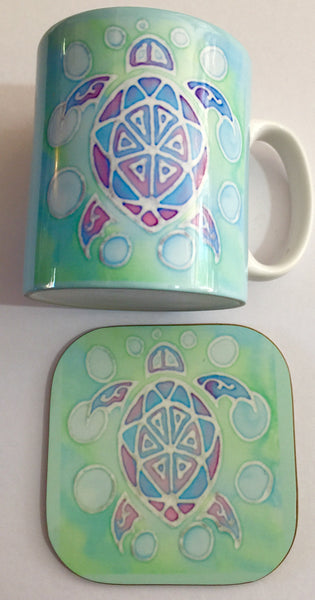 Green Turtle Mug & Coaster - Cute Turtle Mug Box Set - Sealife Mug Gift