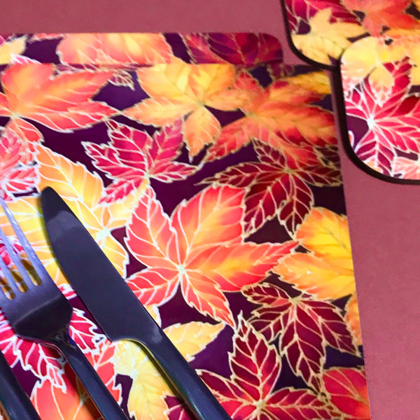 Autumn Leaves Placemats & Coasters - Virginia Creeper Leaves Table Mats - Red Yellow