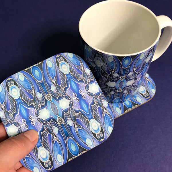 Deco Style Blue Swallows Mug and Coaster - Bird Mug Box Set