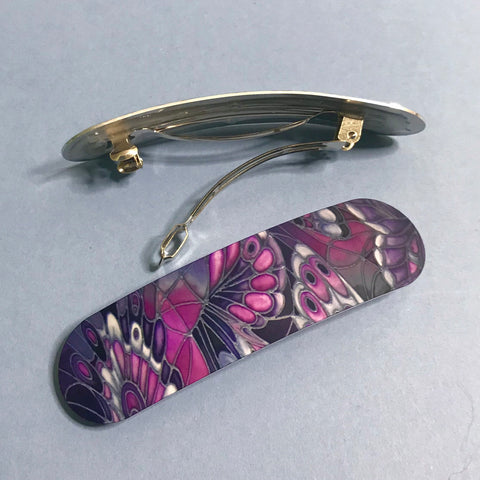 Contemporary Purple and Grey butterfly hair clip